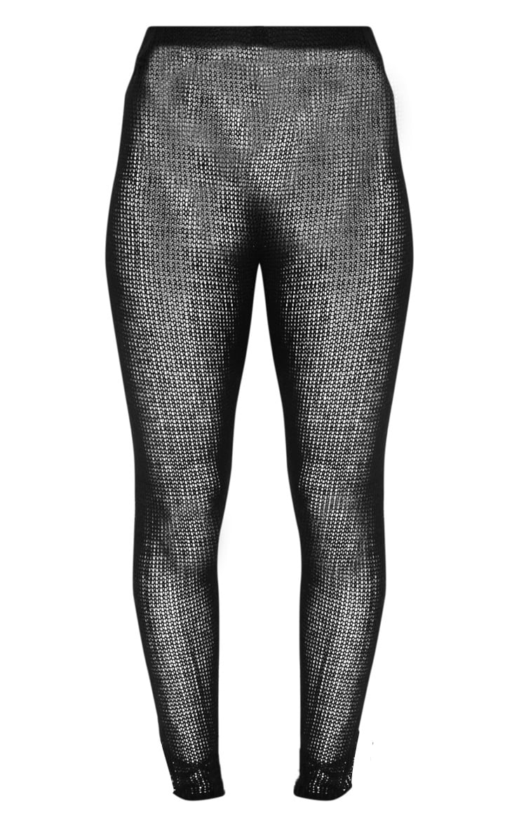 Black Open Knit Cropped Trousers 3