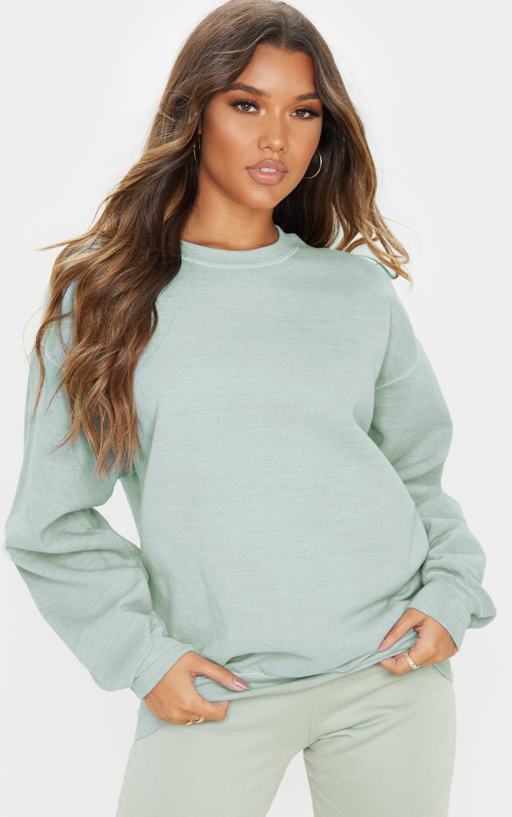 Sage Khaki Washed Ultimate Oversized Sweater 4
