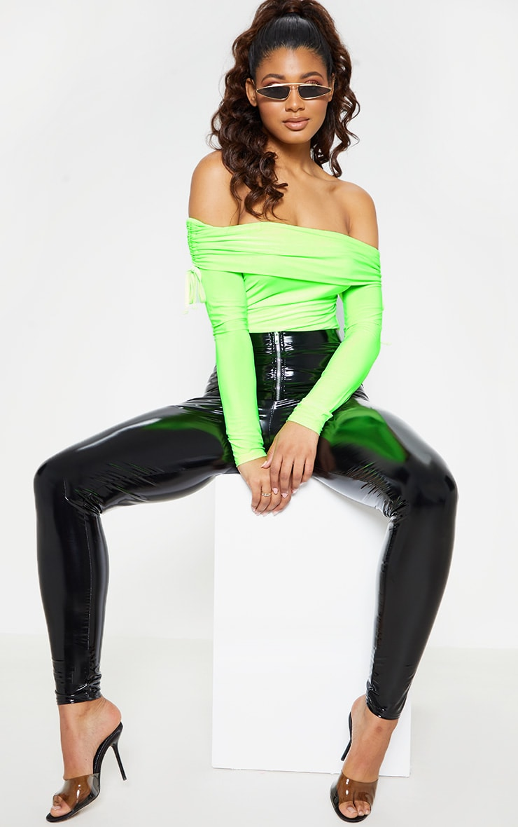 Tall Lime Green Slinky Ruched Bardot Bodysuit  6