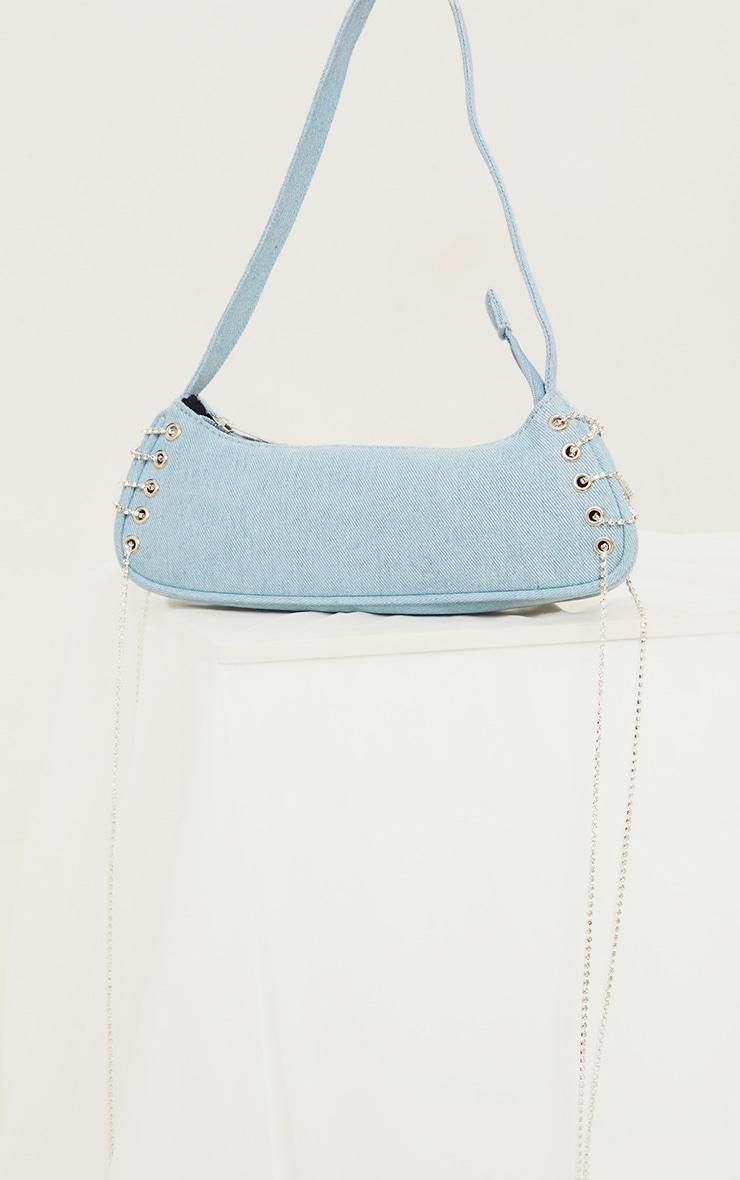 Blue Denim Diamante Lace Up Shoulder Bag 2