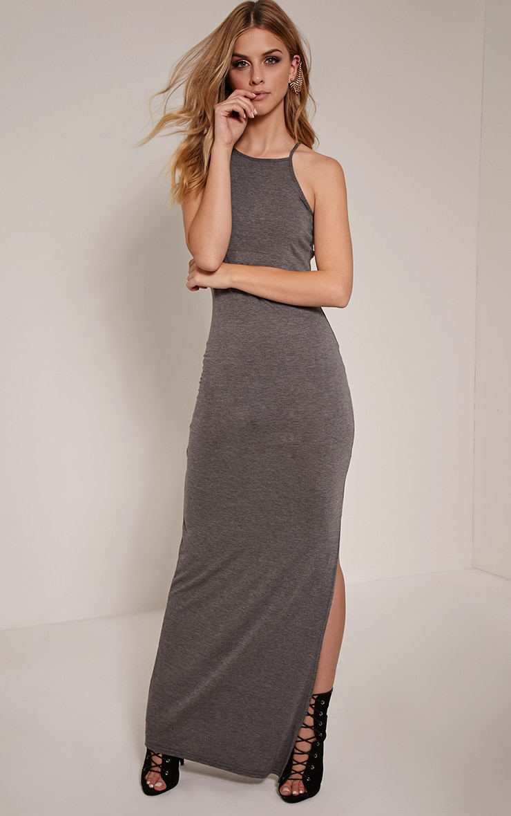 Basic robe maxi anthracite à col carré 1