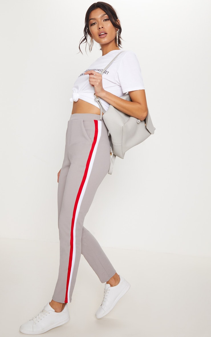 Grey Sport Stripe Cigarette Trousers
