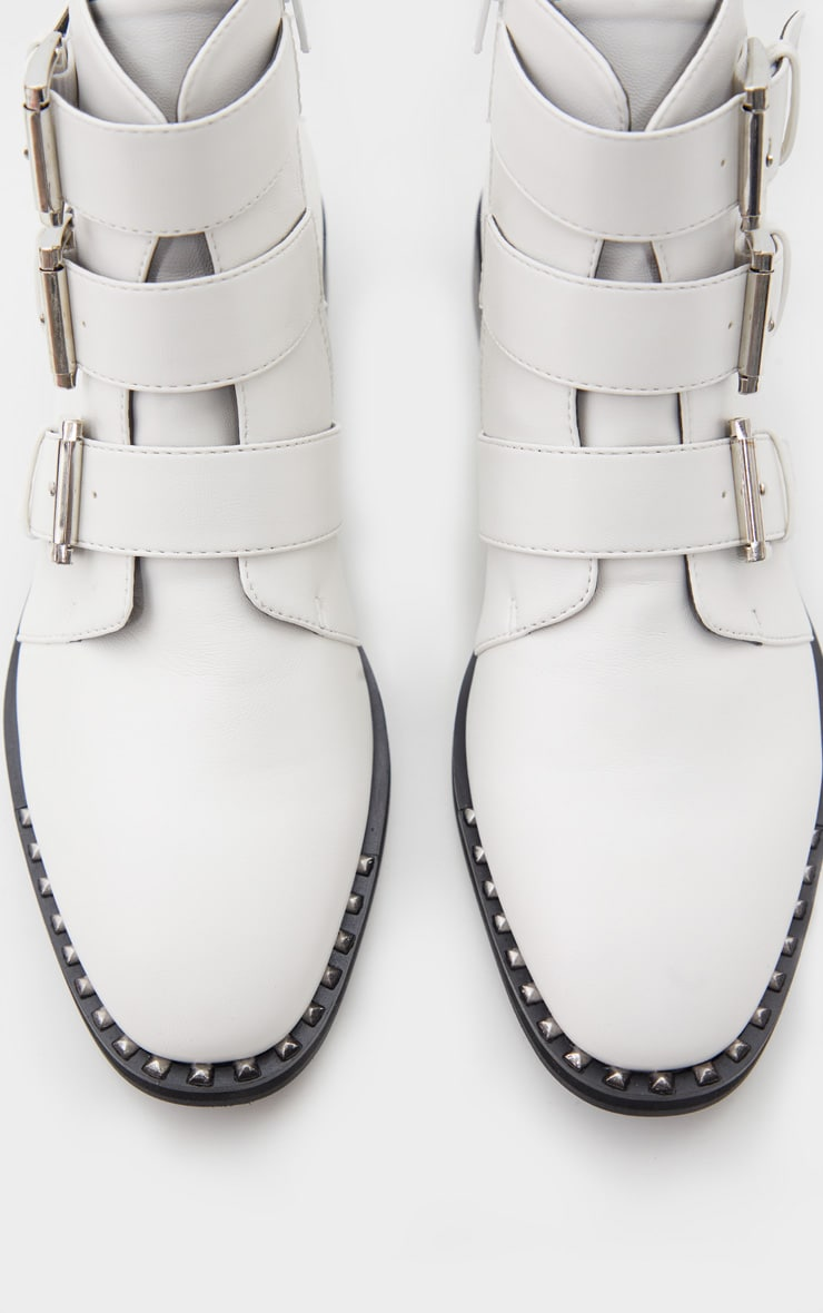 White Triple Buckle Ankle Boot 5