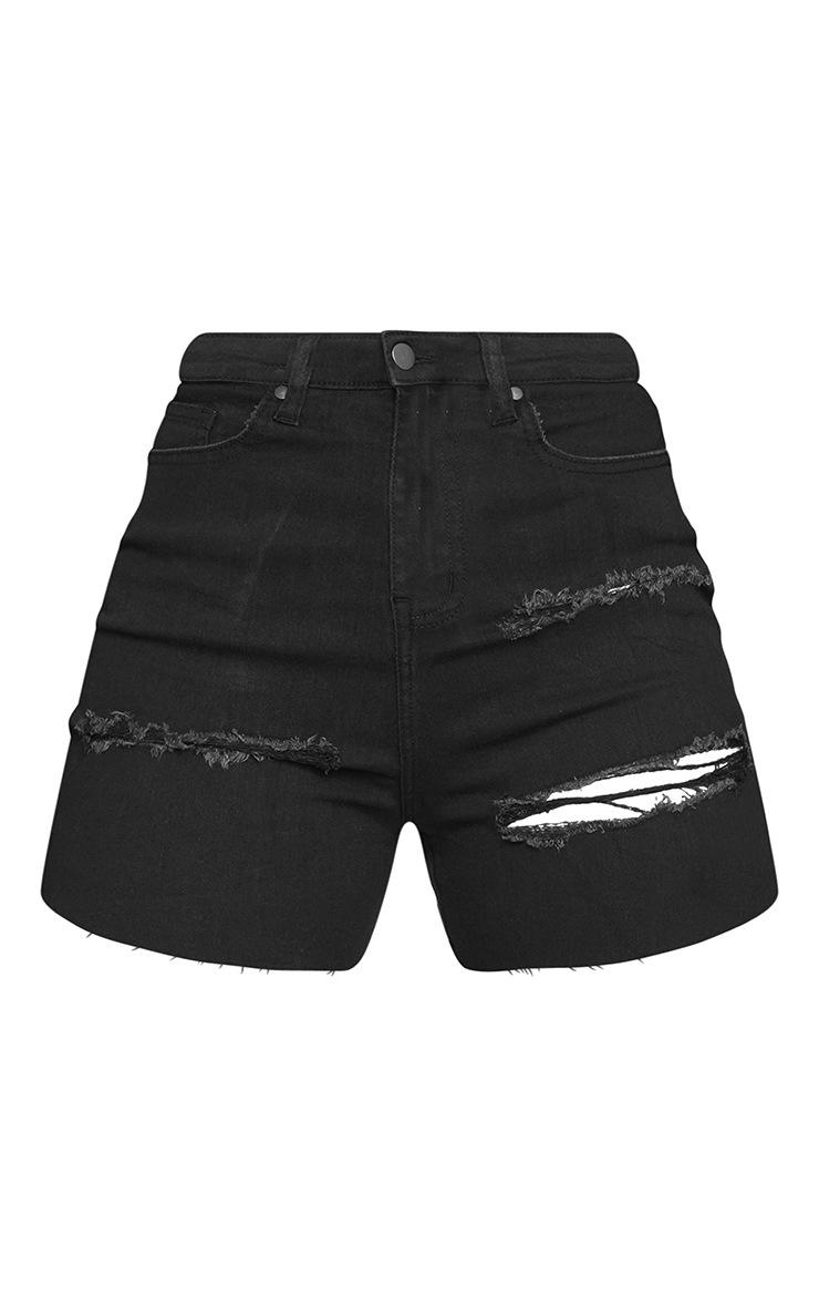 Shape Black Ripped Stretch Mom Short 6