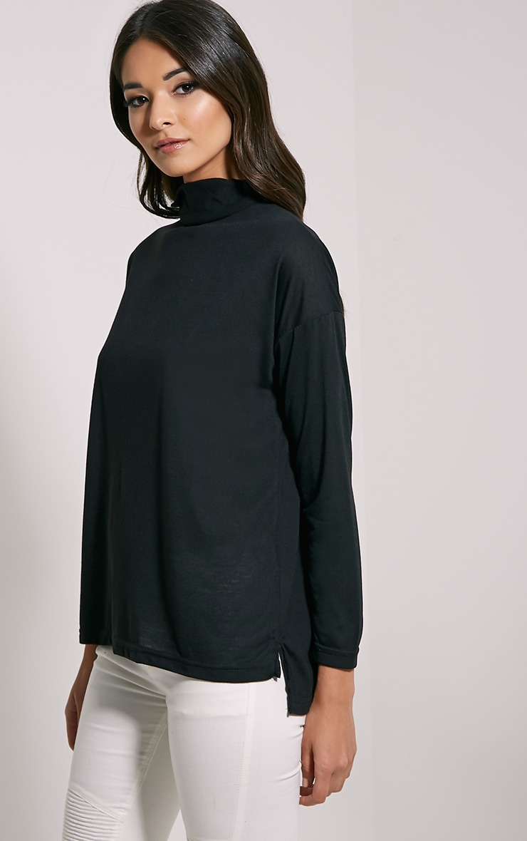 Thora Black Roll Neck Top 4