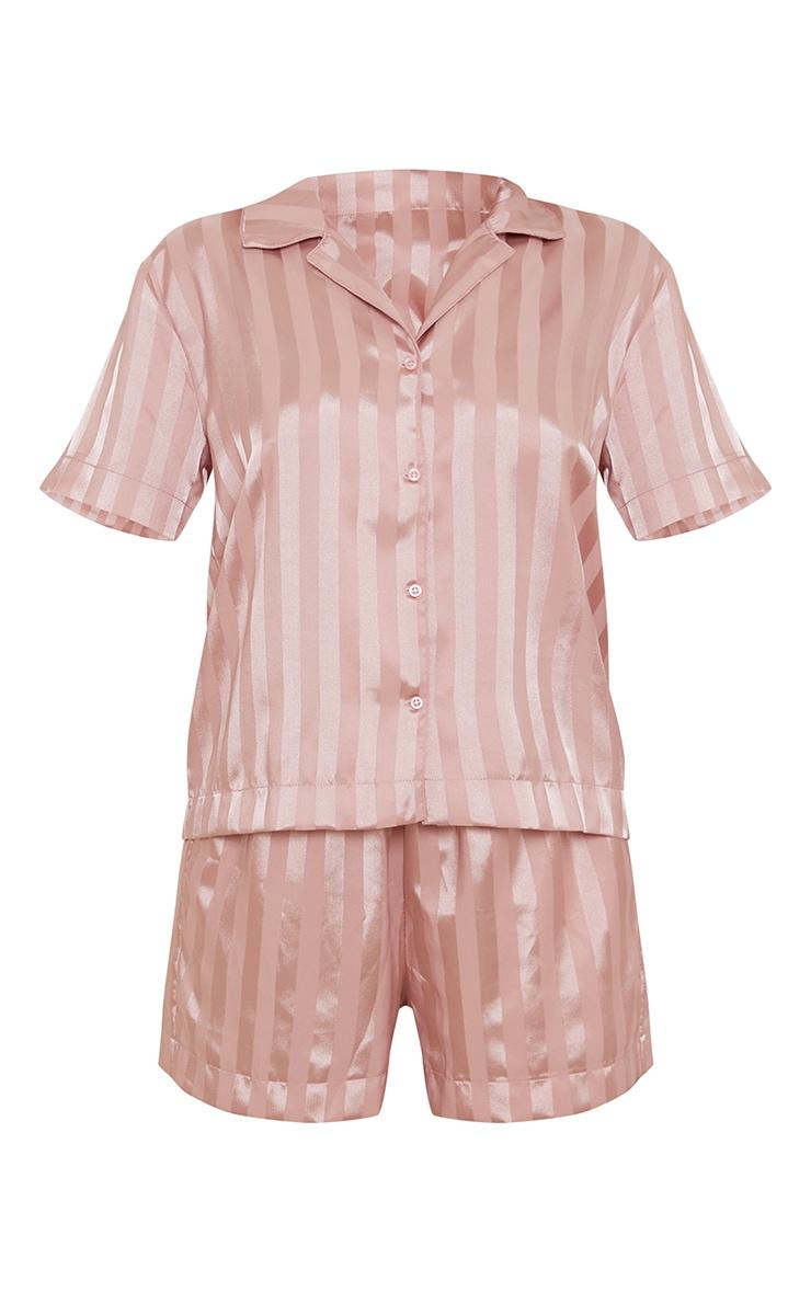 Pink Jacquard Stripe Satin Oversized Short Pj Set 5