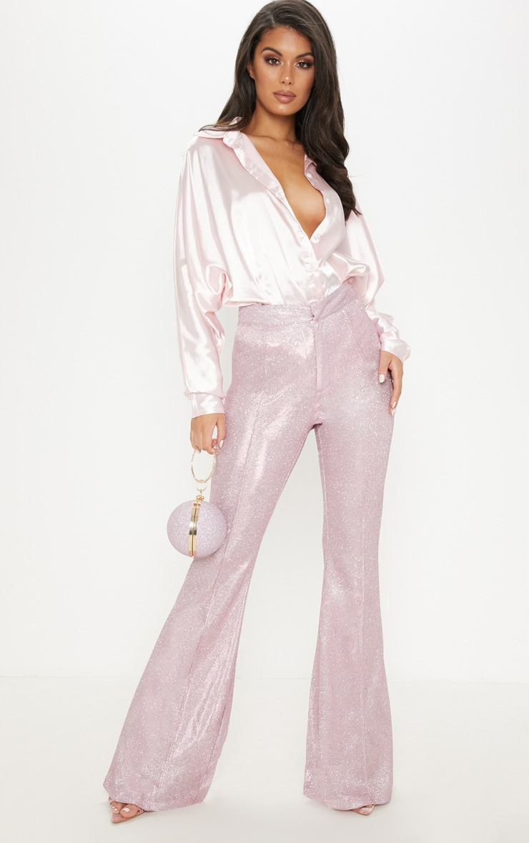 Pink Front Seam Glitter Flared Trouser by Prettylittlething