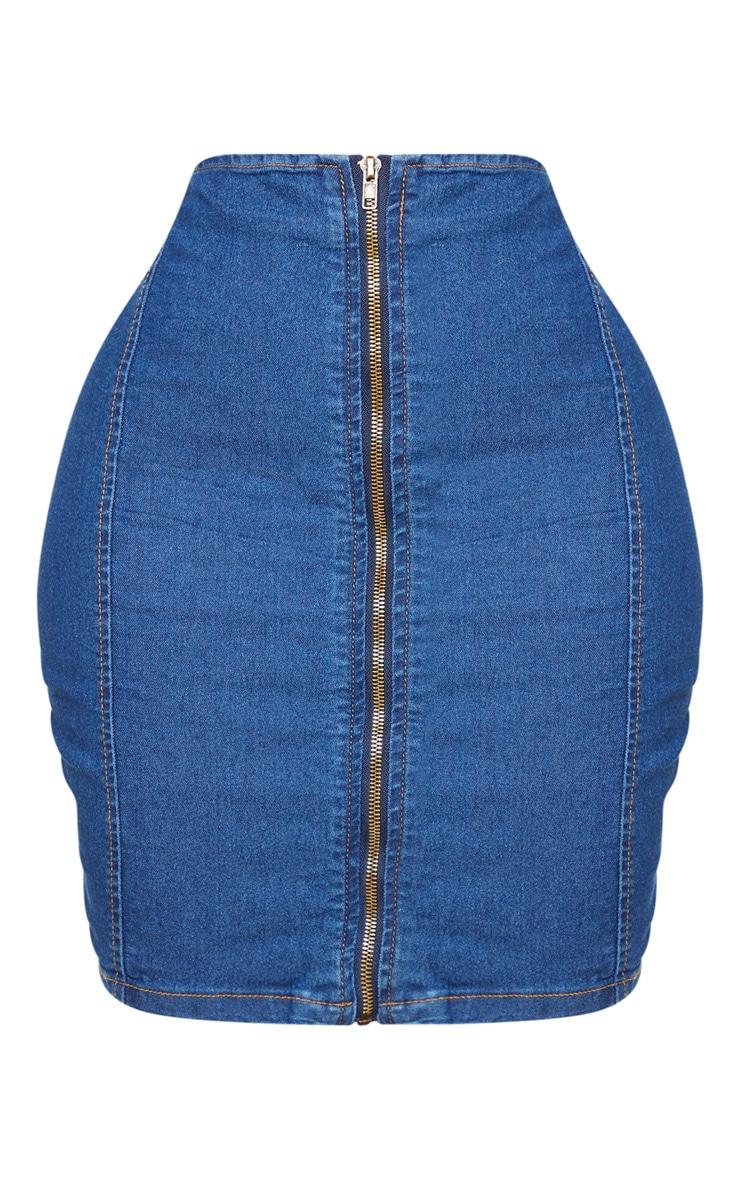 Shape Mid Wash Denim Zip Front Bodycon Skirt 6