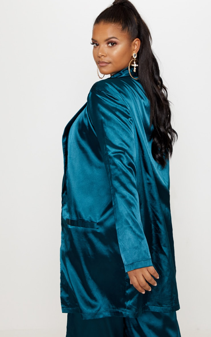Plus Teal Satin Longline Blazer 2