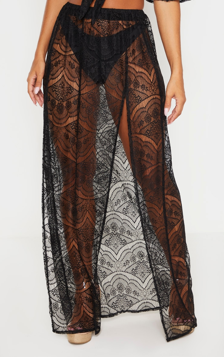 Black Lace Split Maxi Beach Skirt 2