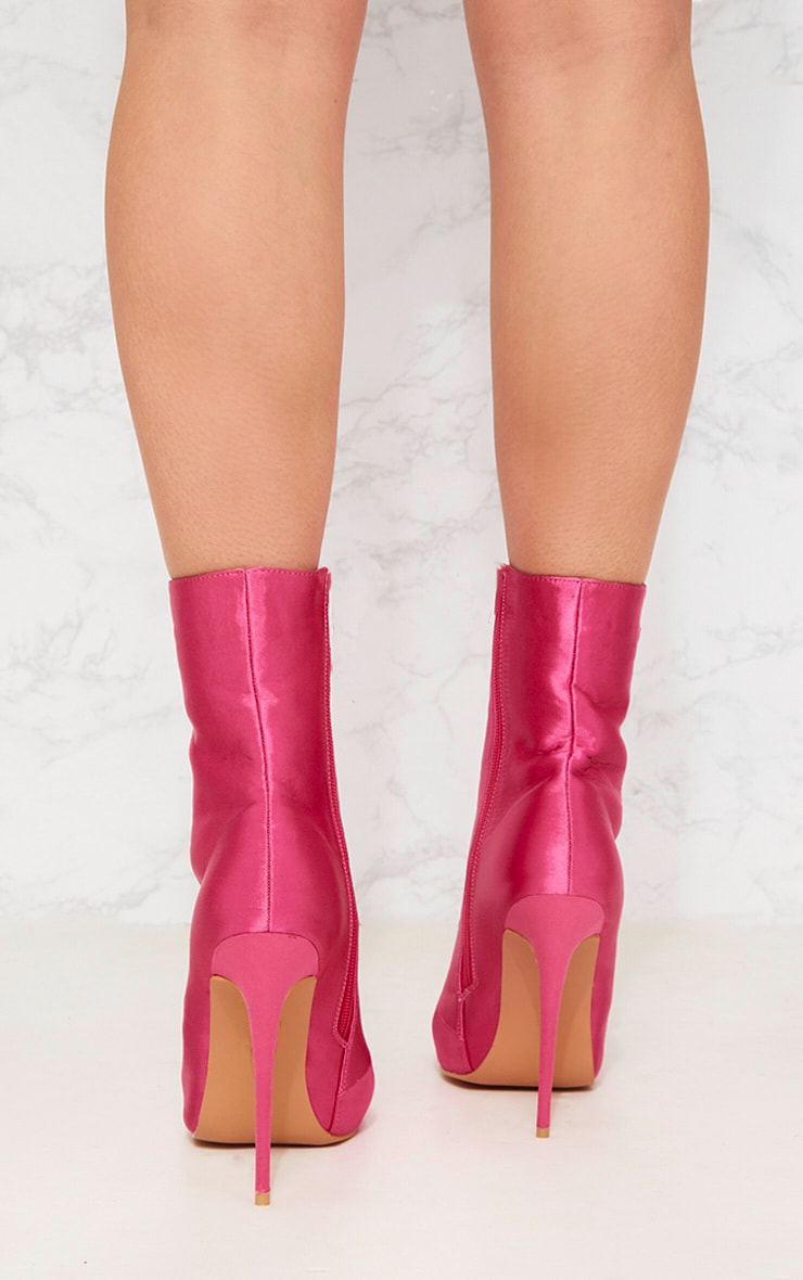 Pink Satin Lace Up Heeled Boot 2