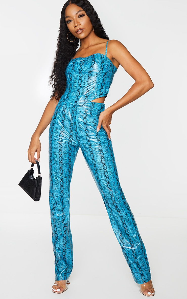Light Blue Snake Print Faux Leather High Waisted Straight Leg Trousers 1