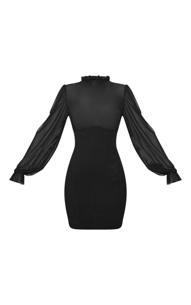Robe moulante noire à base bandage et corsage mesh à col haut 3