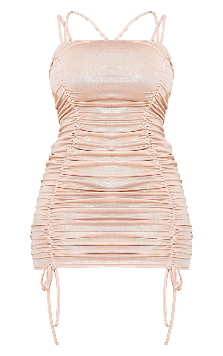 Shape Champagne Metallic Extreme Ruched Strappy Bodycon Dress 5