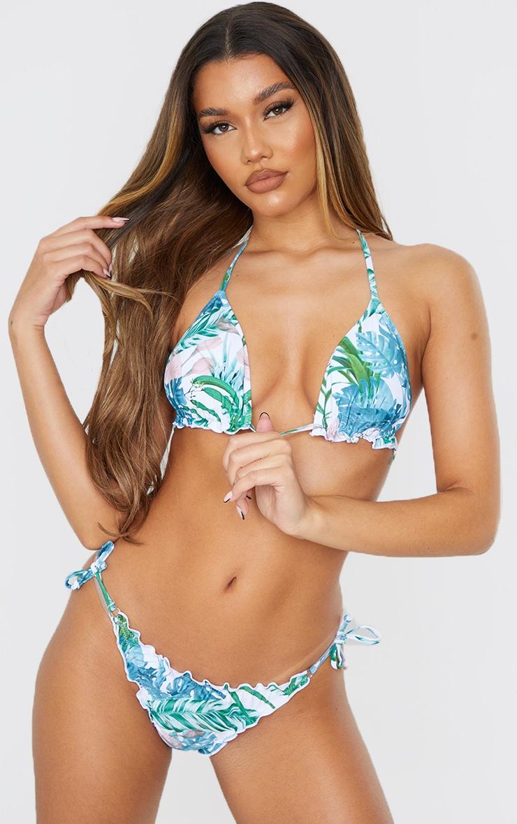 Pale Khaki Leaf Frill Edge Padded Bikini Top 1