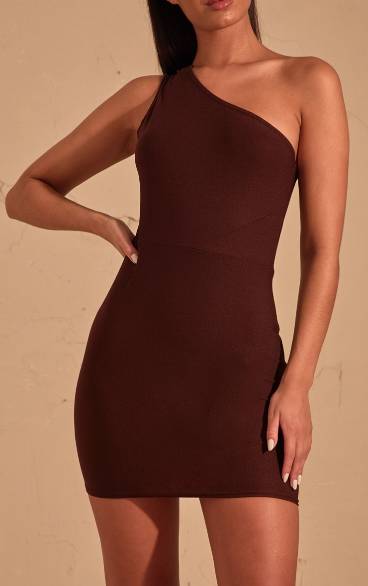 Chocolate Brown One Shoulder Bodycon Dress  5