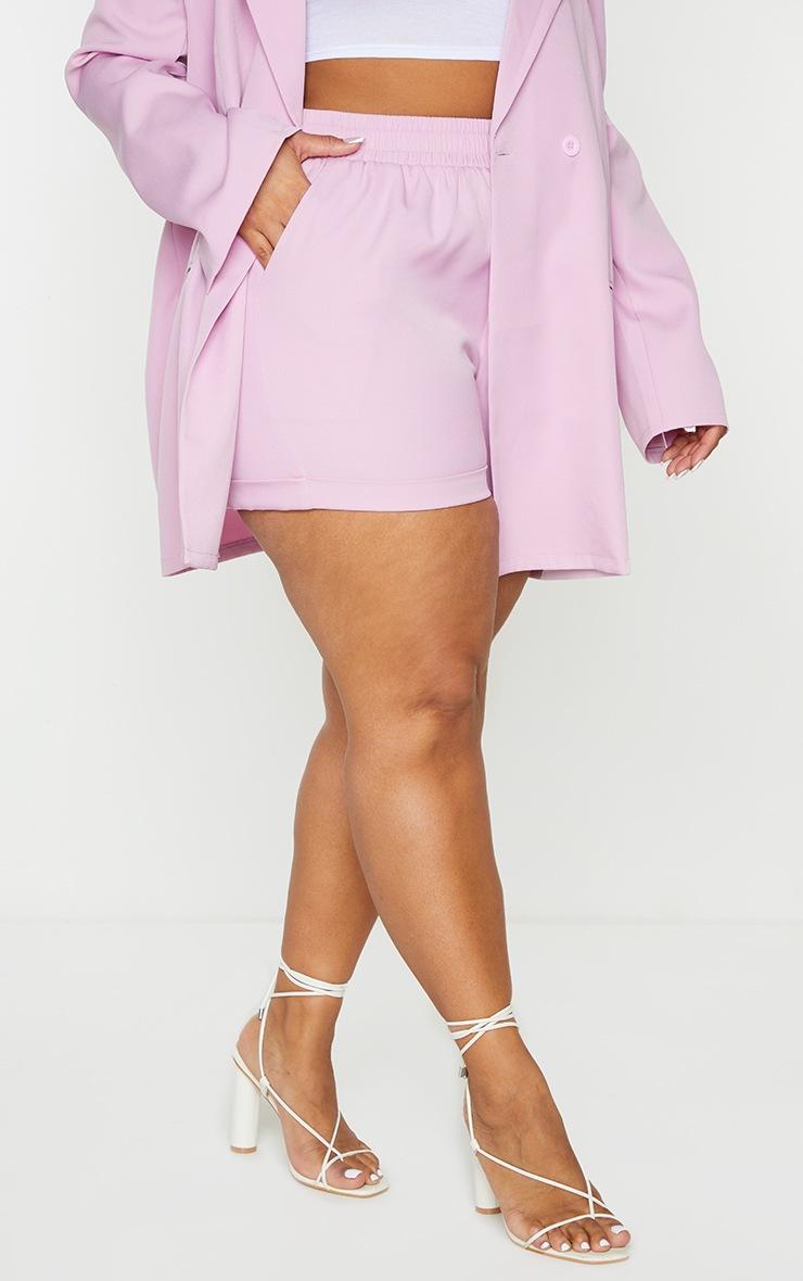 Plus Lilac Ruched Waist Suit Shorts 2