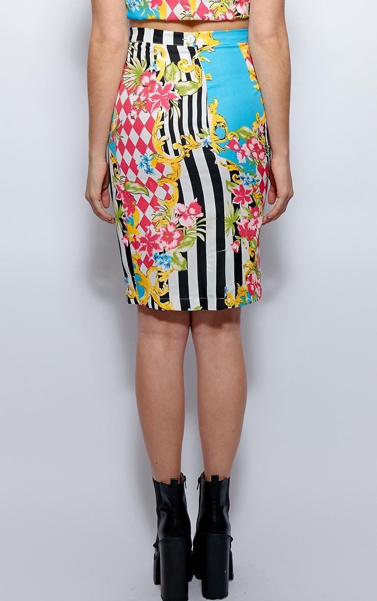 Paige Floral Stripe Midi Skirt 2