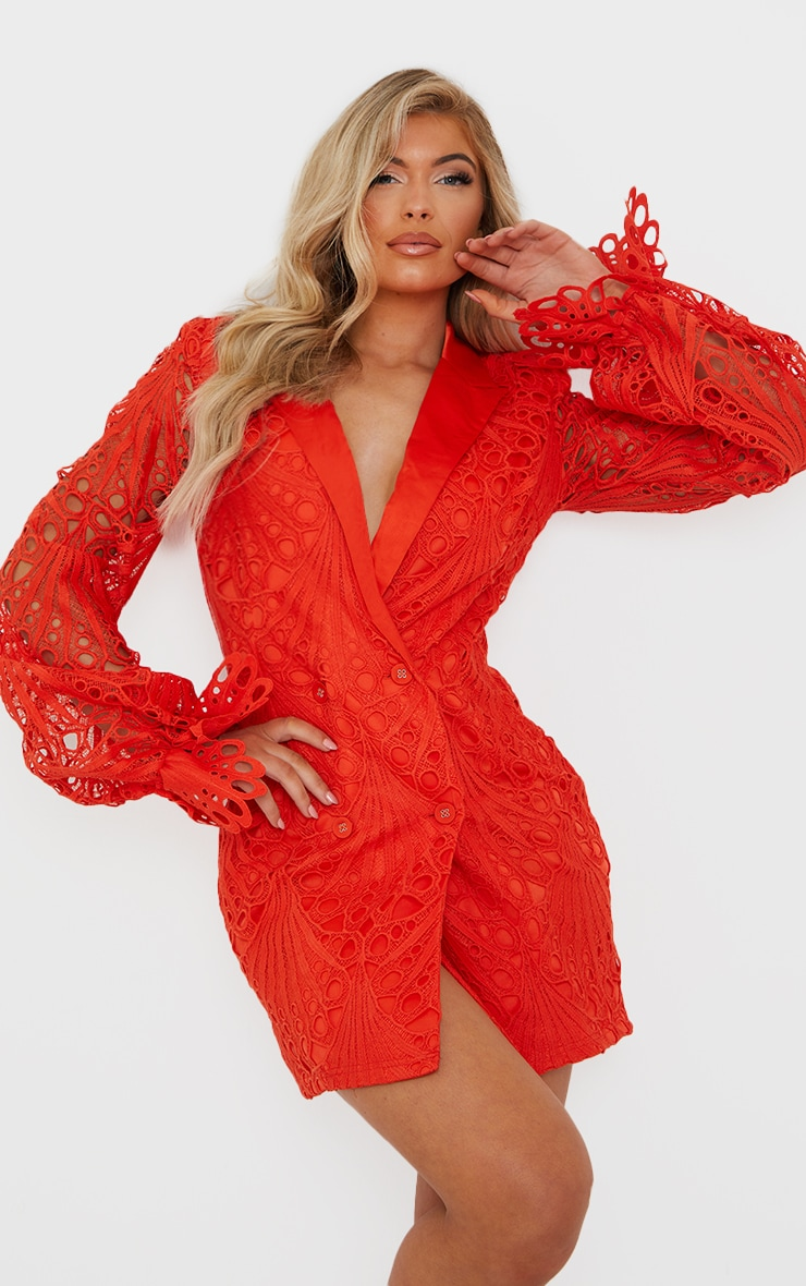 Bright Orange Thick Lace Frill Sleeve Blazer Dress 1