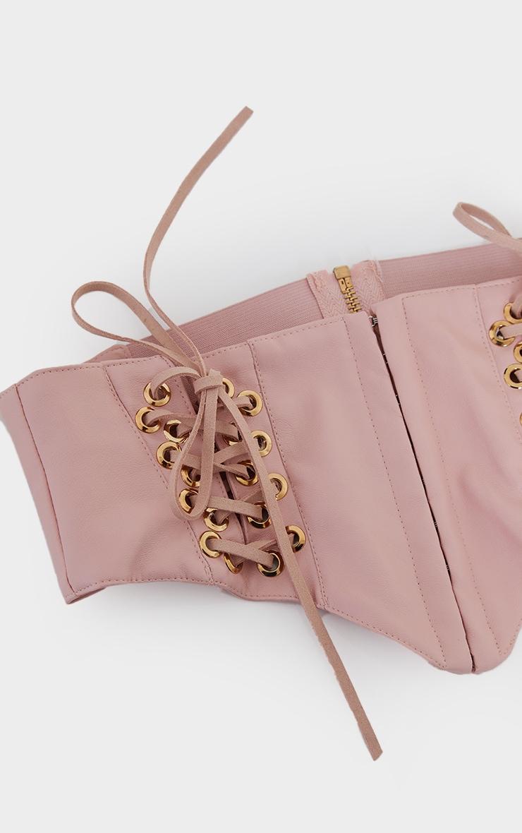 Pink PU Hook And Eye Corset Belt 2