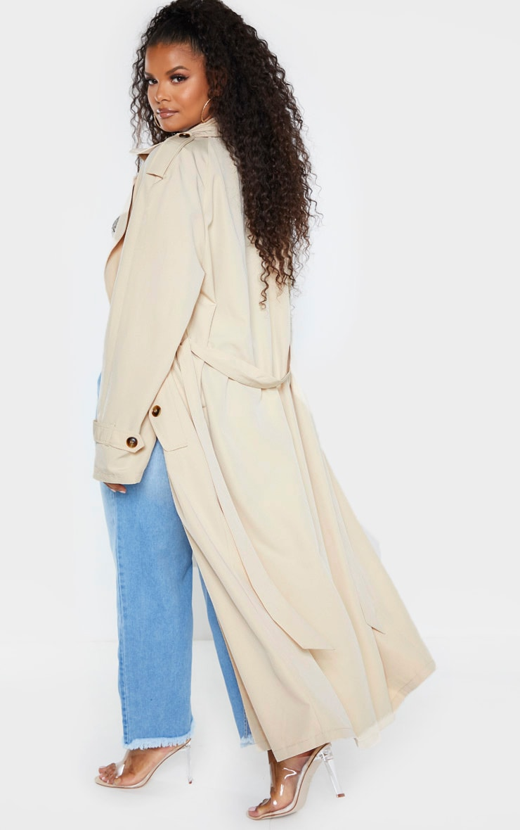 Plus Stone Oversized Button Down Trench Coat 2