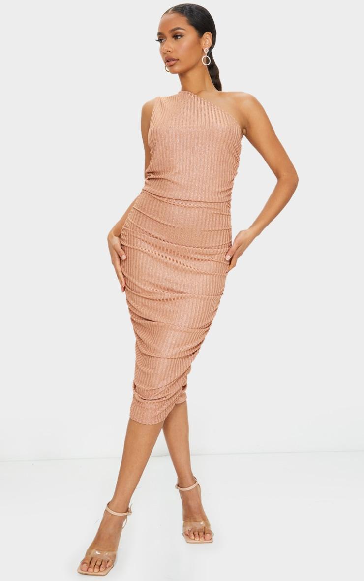 Copper Glitter One Shoulder Ruched Midi Dress 1