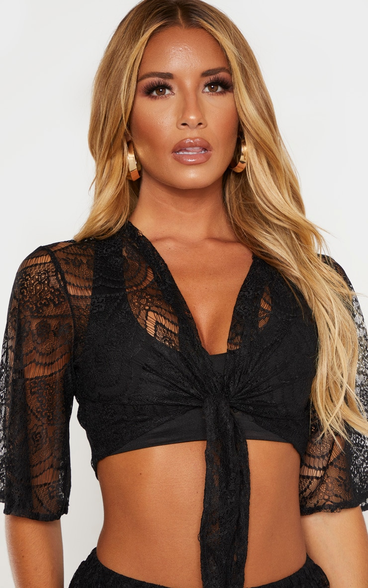 Black Lace Tie Front Beach Top 4