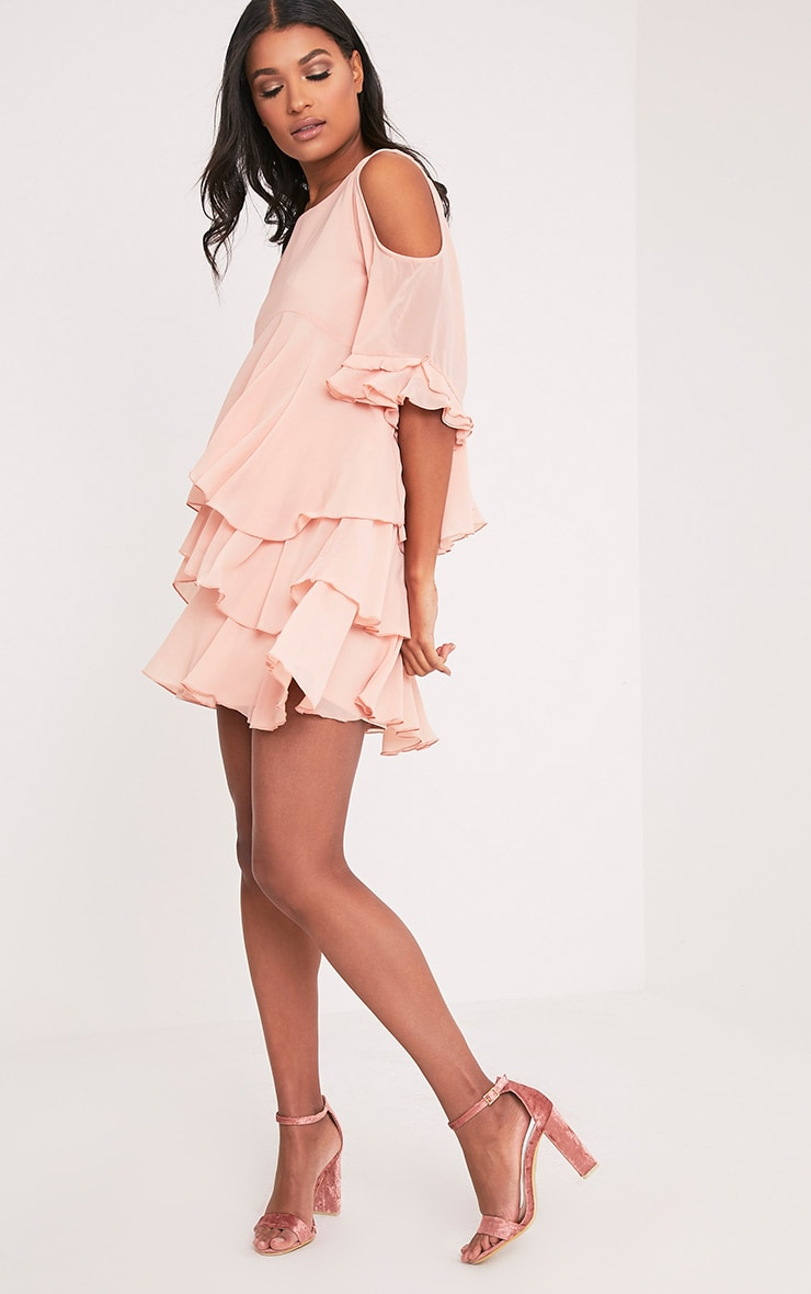 Tessa Blush Cold Shoulder Ruffle Swing Dress 5