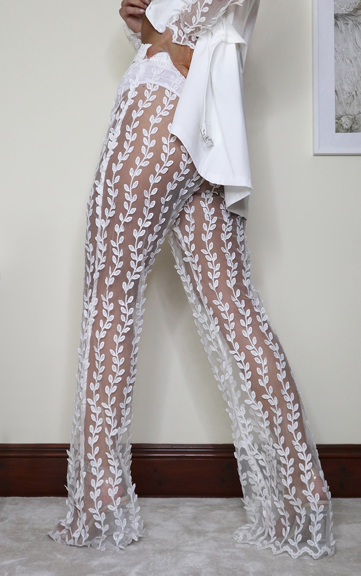 White Sheer Lace Woven Flared Pants 3