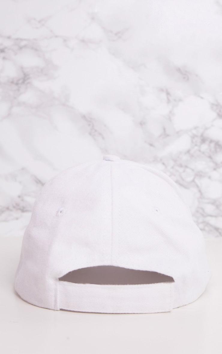 White Woven Baseball Cap 4