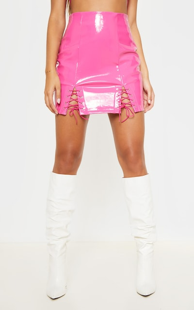 Neon Pink Vinyl Double Lace Up Hem Mini Skirt