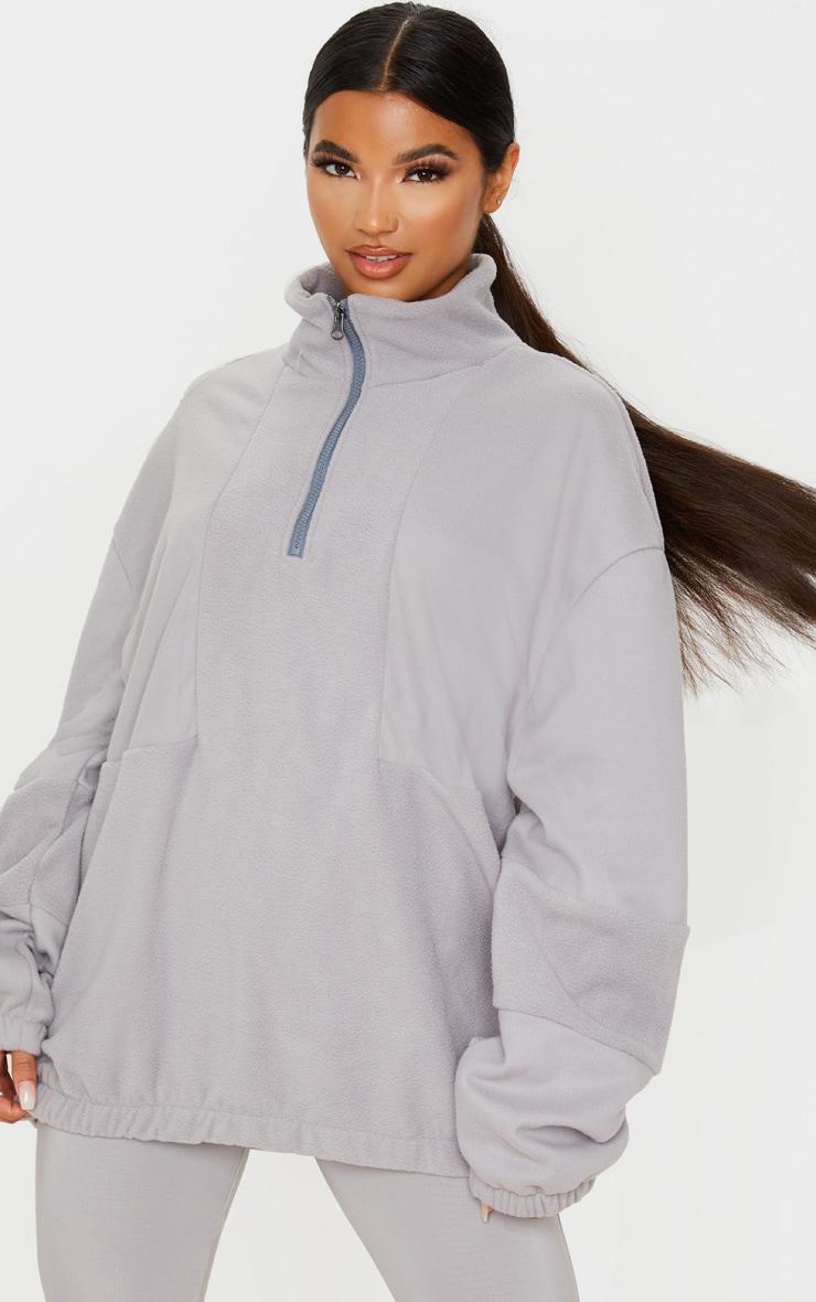 Grey Fleece Zip Front Oversized Sweater 1