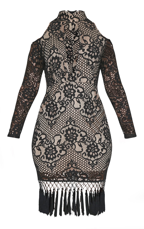 Krina Black Lace Tassel Detail Bodycon Dress 3