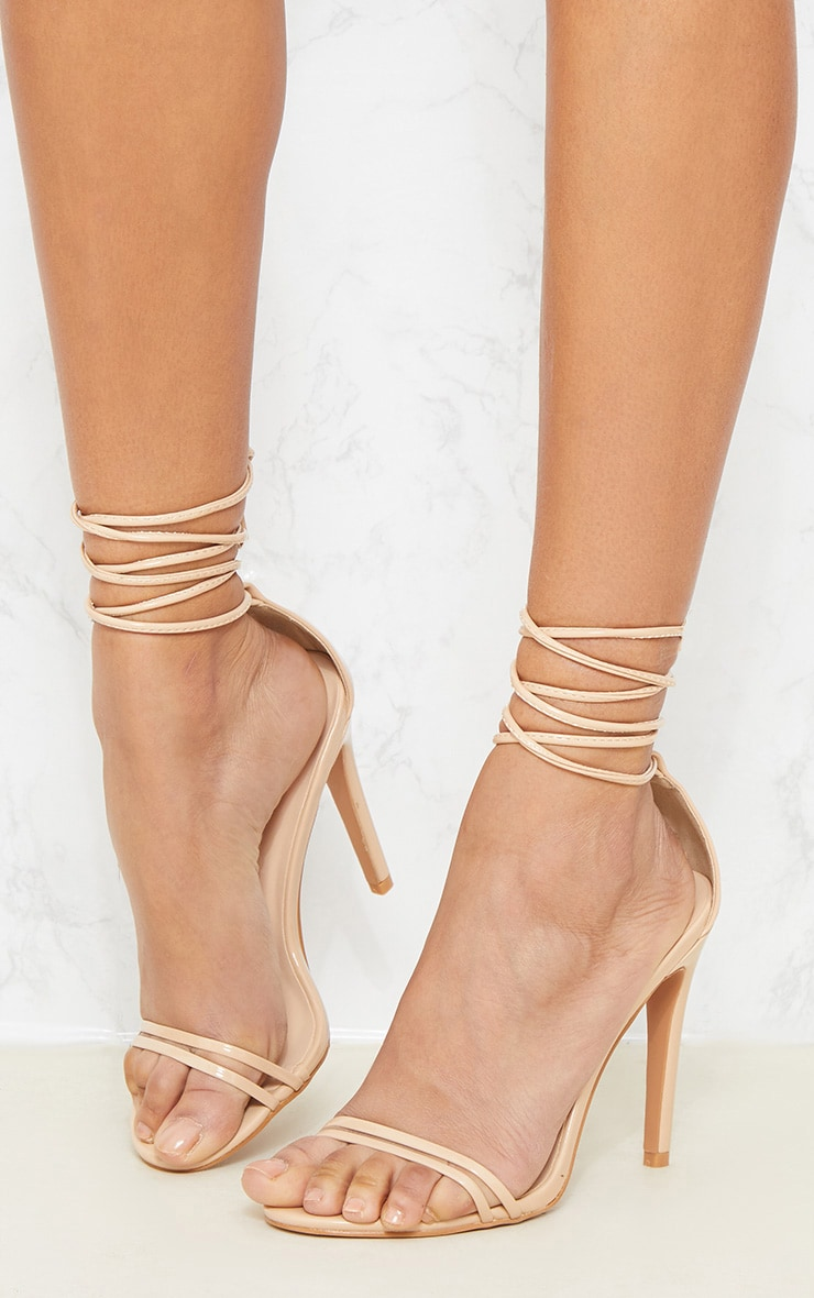 Nude Strappy Barely There Ankle Tie Sandal 2