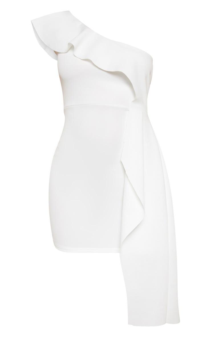 White Scuba One Shoulder Bodycon Dress 3