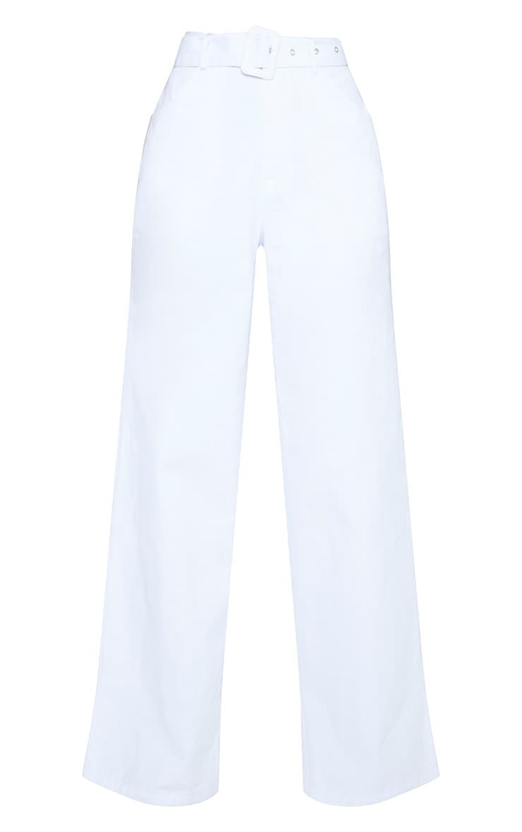 White Chambray Belted Woven Wide Leg Pants 3