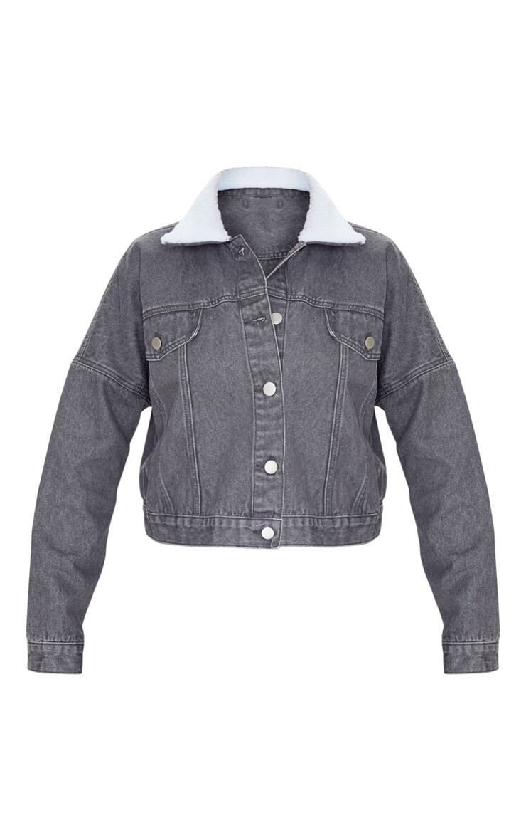 Washed Grey Borg Collar Denim Jacket 4