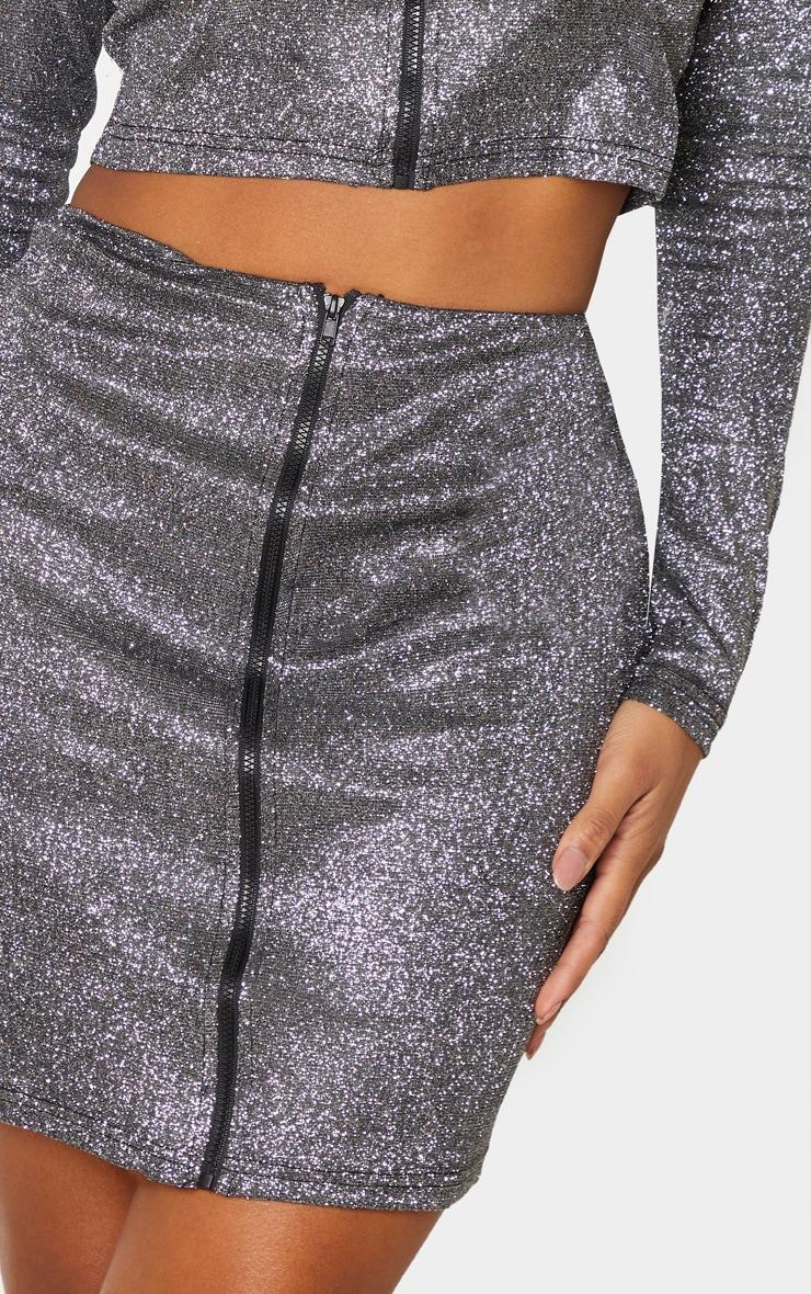 Shape Black Glitter Zip Front Bodycon Skirt  6