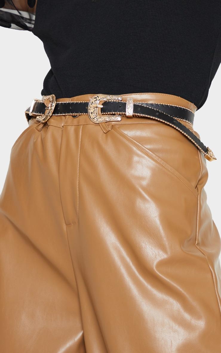 Black Skinny Gold Double Western Belt 1