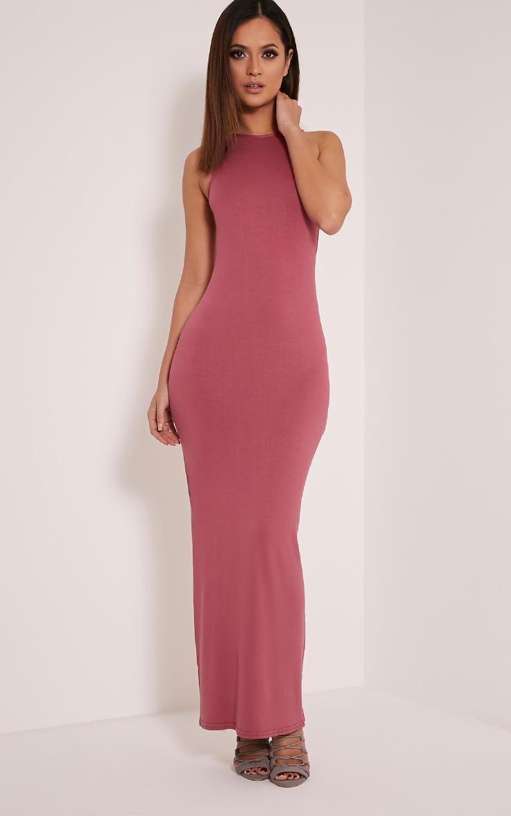 Basic robe maxi rose col nageur 5
