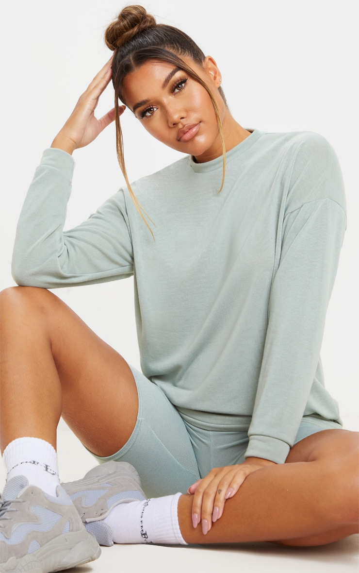 Sage Green Soft Cotton Oversized Long Sleeve Top 1