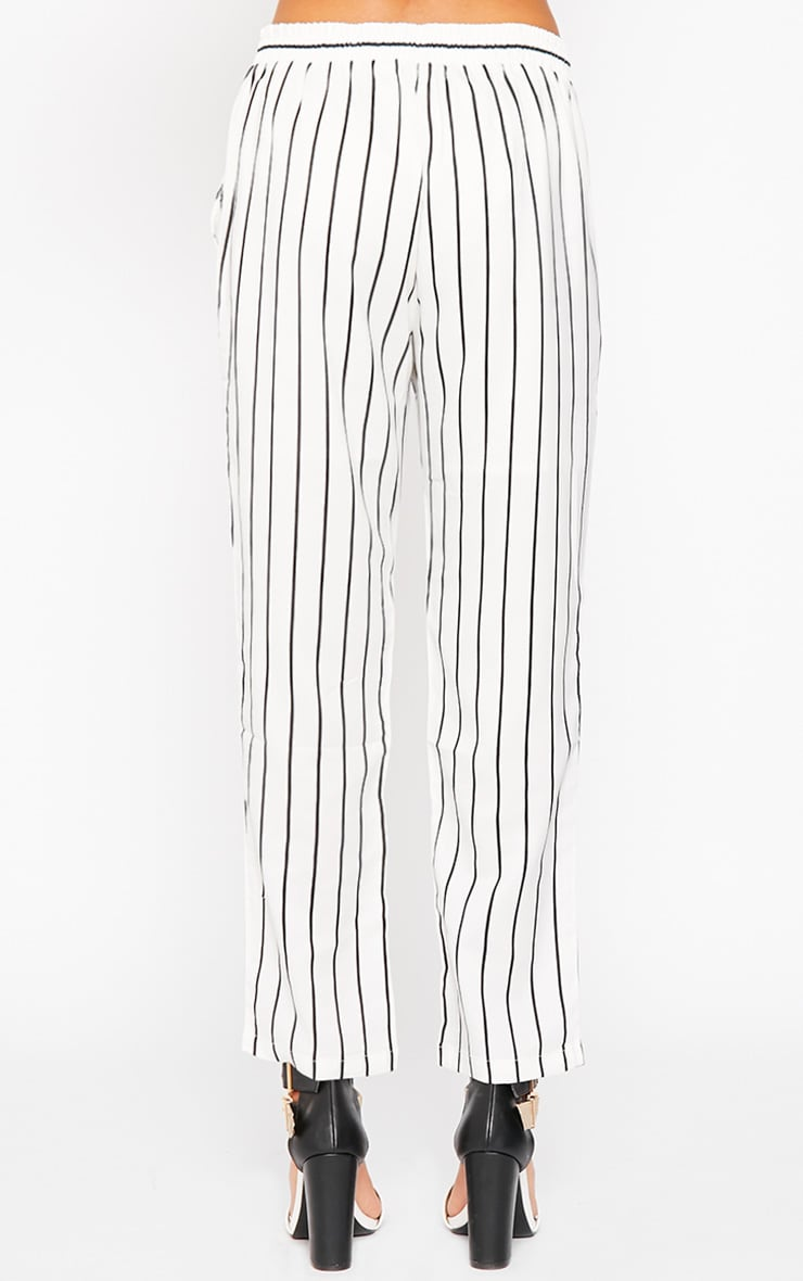 Ariela Cream Stripe Trousers 4