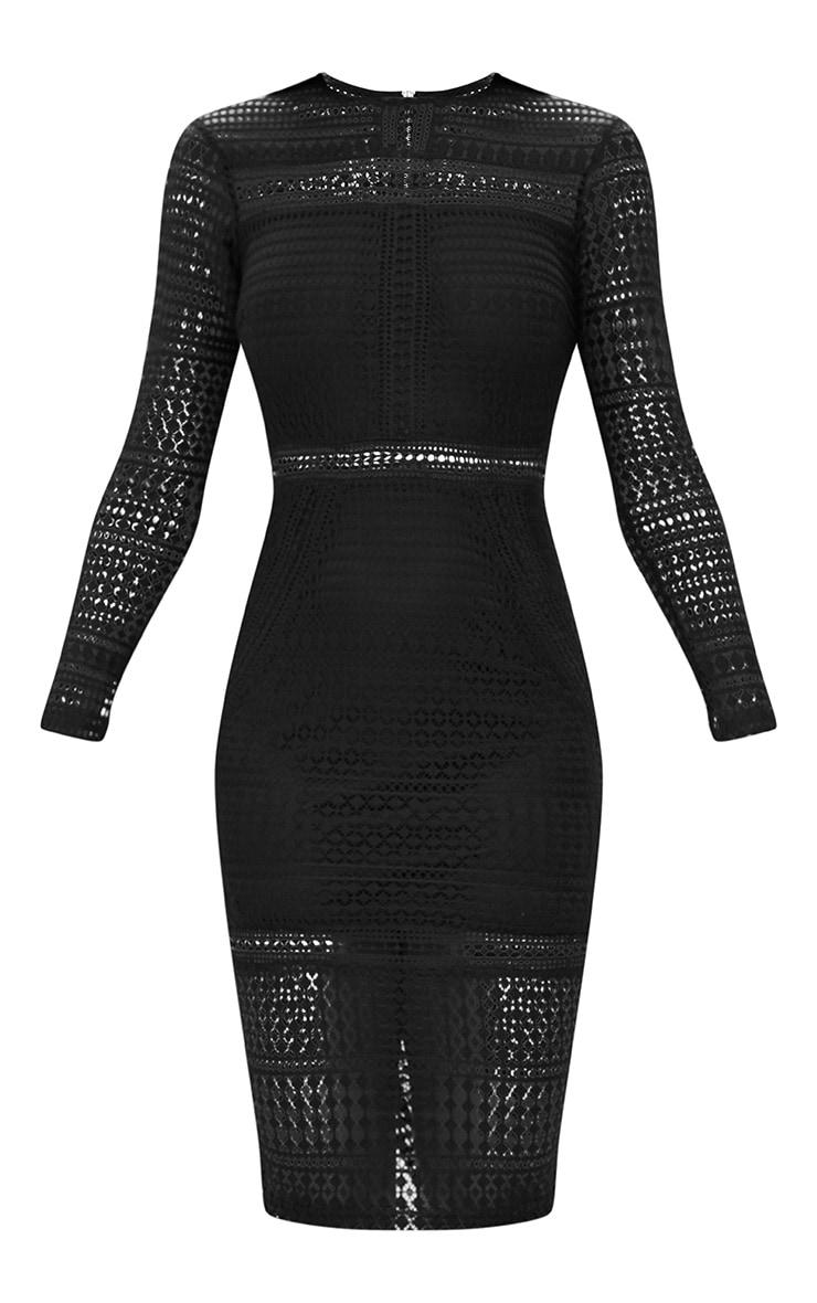 Black Lace Long Sleeve Midi Dress 3