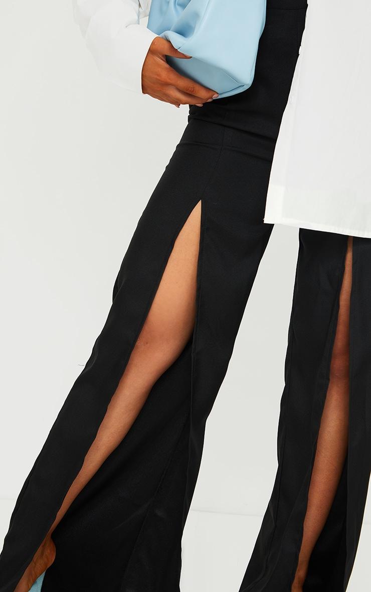 Black Split Leg Woven Wide Leg Pants 4