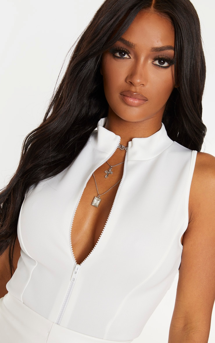 Shape Cream Scuba Zip Front Bodysuit 6