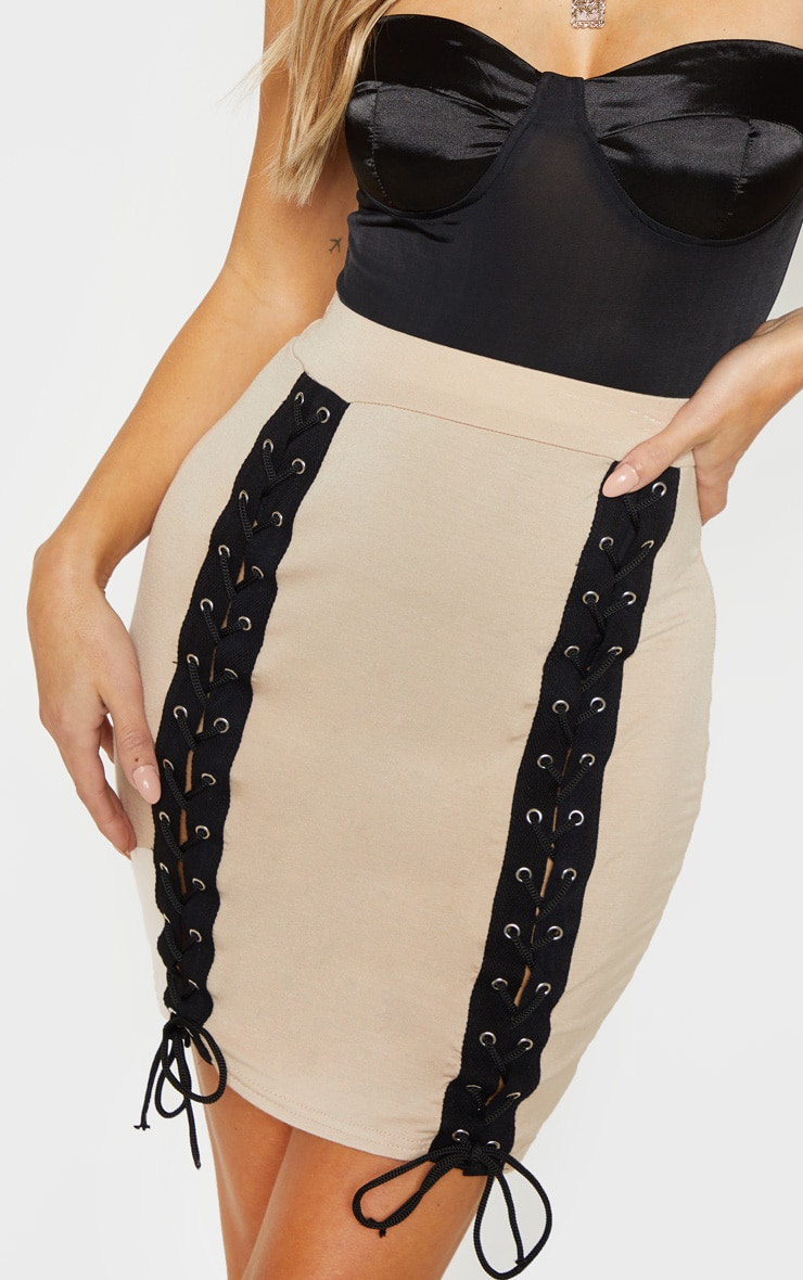 Stone Jersey Double Lace Up Detail Mini Skirt 6