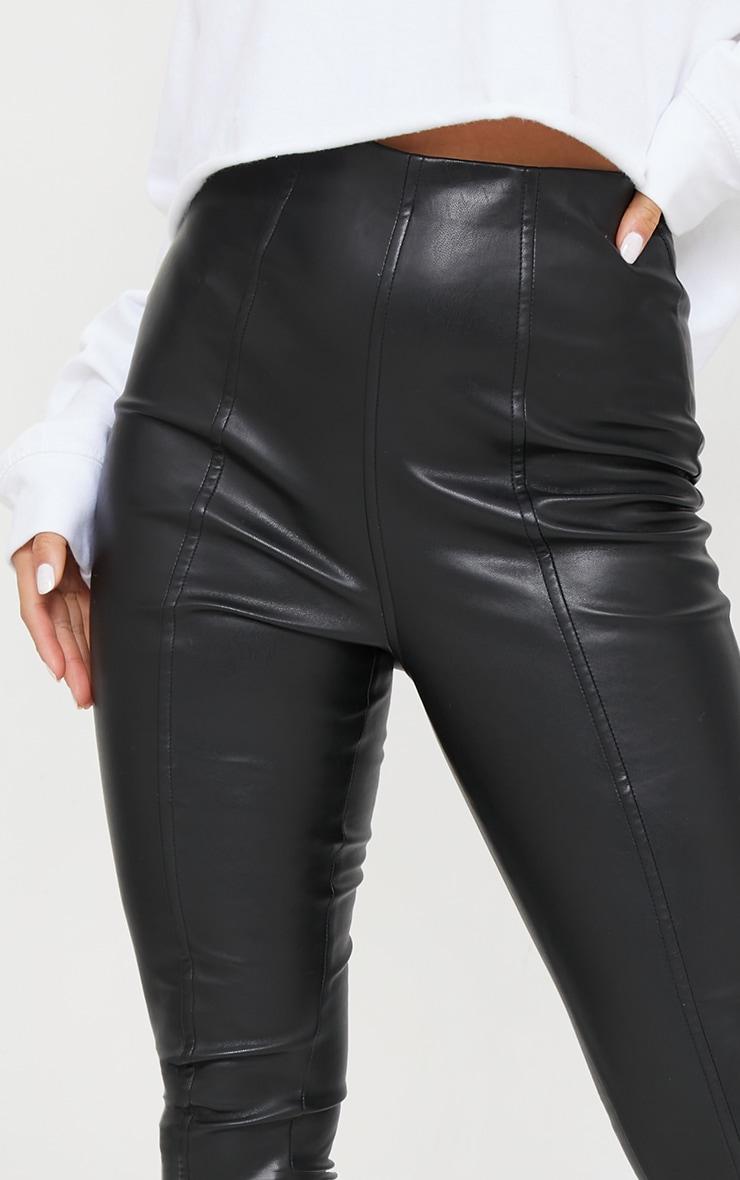 Petite Black Faux Leather Stretch Leggings 4