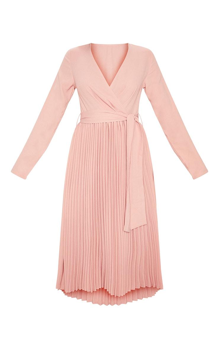Rose Long Sleeve Pleated Midi Dress 3
