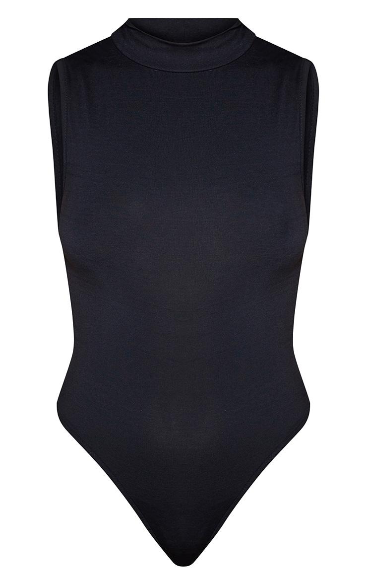 Black High Neck Jersey Sleeveless Bodysuit 3