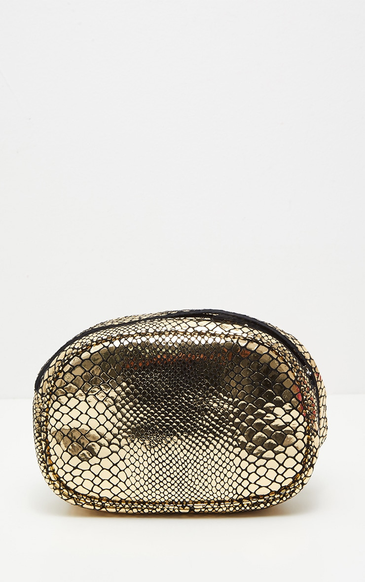 Gold Real Leather Croc Cross Body Bag 3